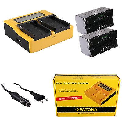 2x Batteria Patona + caricabatteria rapido DUAL LCD per Sony HDR-FX1E,HDR-FX7