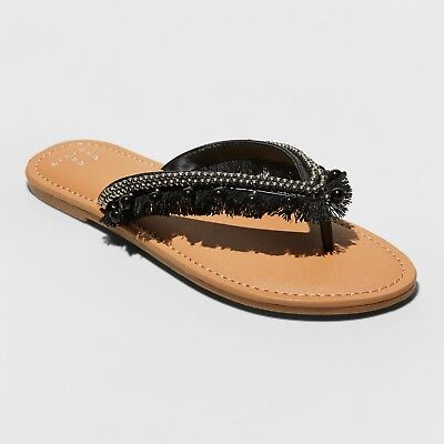 Women's Alexis Beaded Fringe Thong Sandals - A New Day- Black - Fringe Thong Sandals