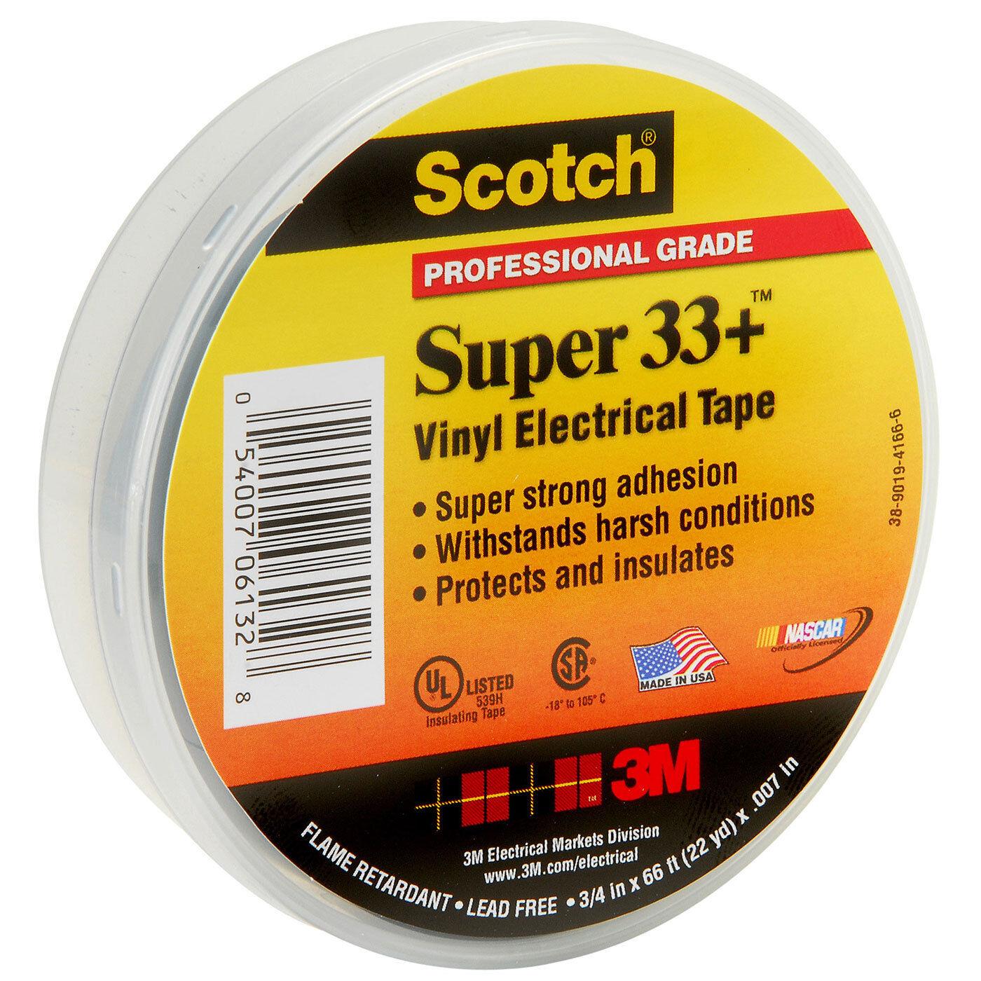 "33 SUPER-3//4x66FT SCOTCH Electrical Tape,7 mil,3//4/"" x 66 ft.,Blk"