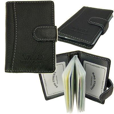 Herren Damen Visitenkarten-Etui Kartenetui Kreditkartenhülle Leder 5515 Schwarz