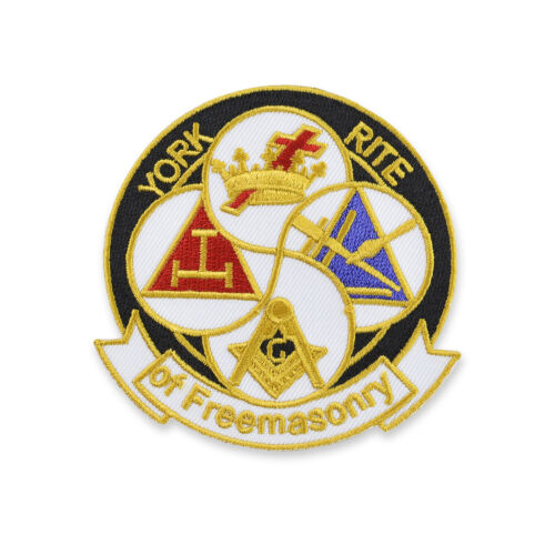 York Rite of Freemasonry Round Embroidered Masonic Patch
