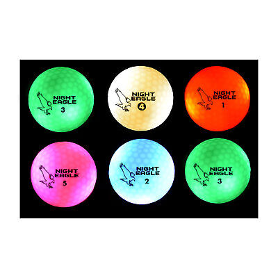 Night Eagle CV LED Golf Balls - Light Activated - No Timer - 6 - Night Golf