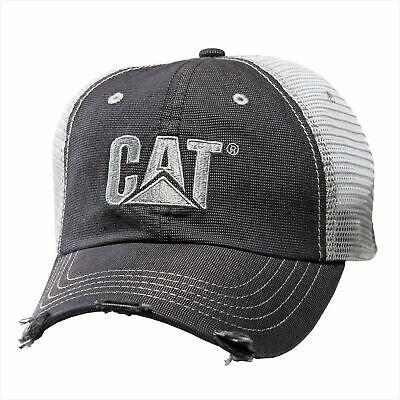 Caterpillar CAT Equipment Trucker Distressed Twill Mesh Diesel Cap Hat Vintage Twill Mesh Cap
