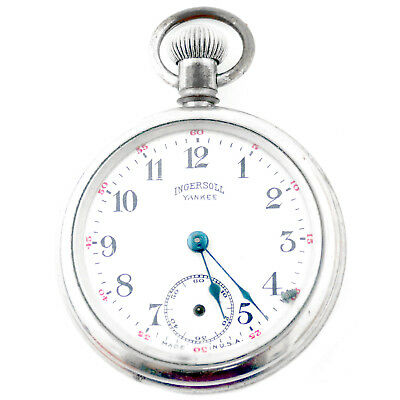 INGERSOLL YANKEE WHITE DIAL STERLING SILVER POCKET WATCH FOR PARTS OR REPAIRS