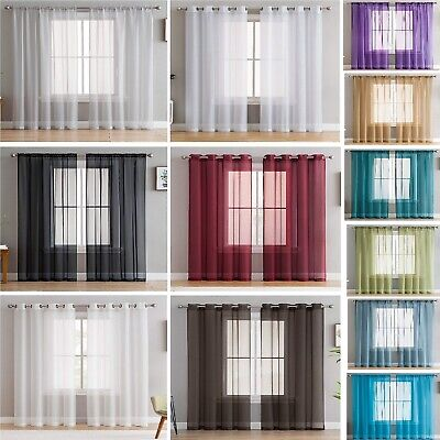 Pair of Voile Net Panels SLOT TOP, EYELET or TAB TOP Curtains + Free Tie -