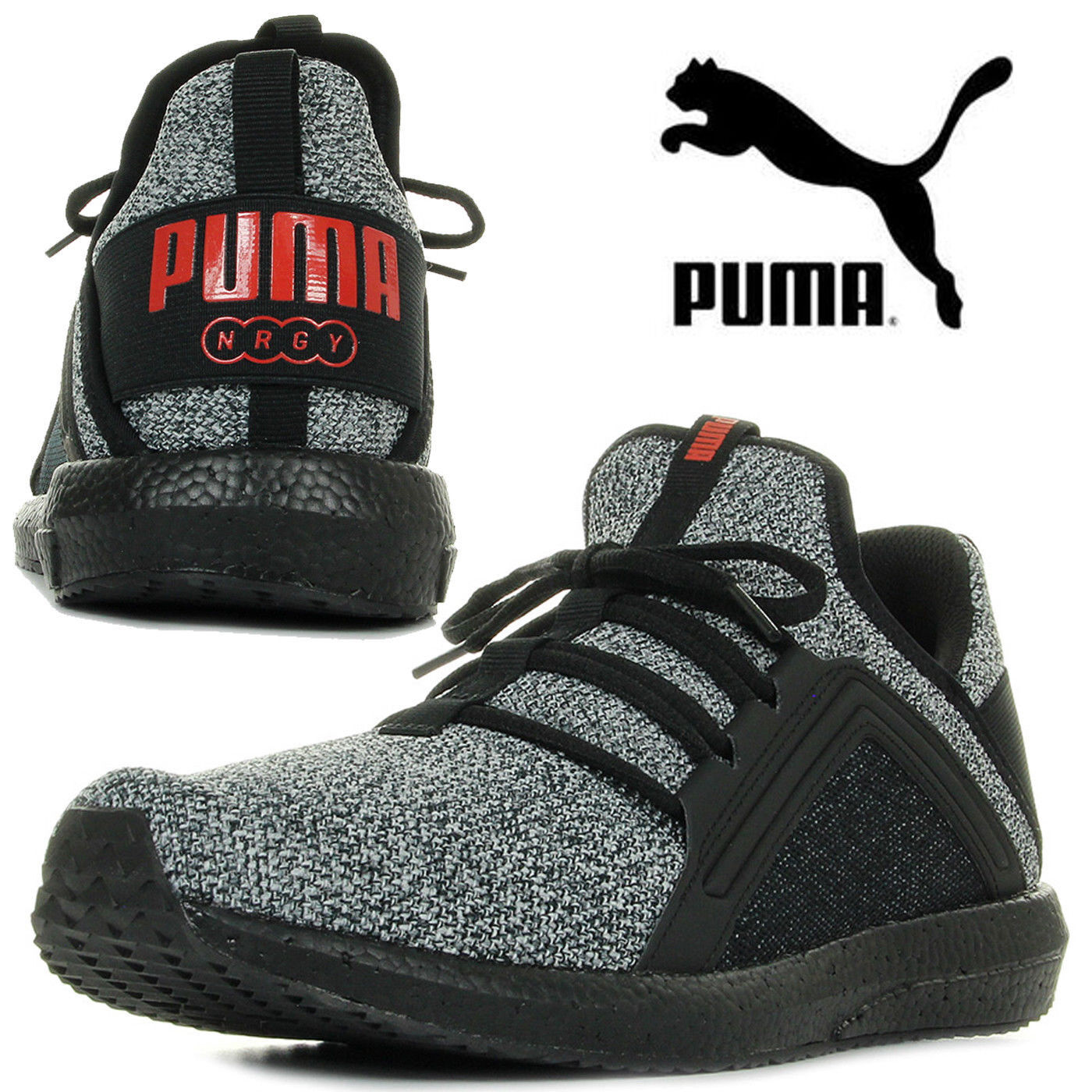Details about PUMA Men's Trainers MEGA NRGY Knit Sports Running Sneakers Jogging Grey Black