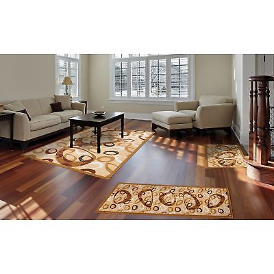 Dash Rugs 3 Piece Set Living Room Big Area Floor Mat Runner Scatter Tan Brown