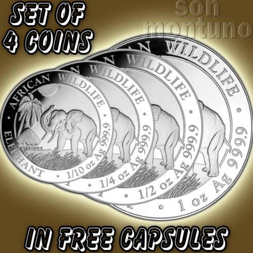 SET OF 4 SILVER COINS - 2017 Somalian Elephant 1, 1/2, 1/4, 1/10 Oz  + Capsules