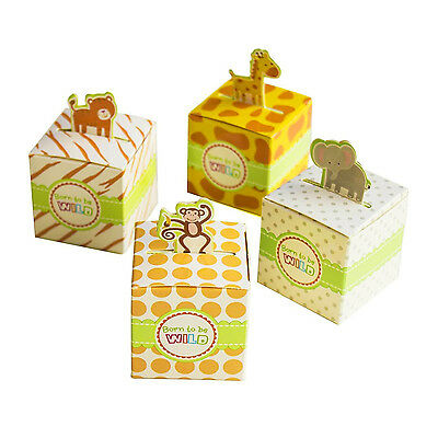 24 Mix Born To Be Wild Jungle Theme Baby Shower Favor Candy Box Giraffe Elephant (Jungle Themed Baby Shower Favors)