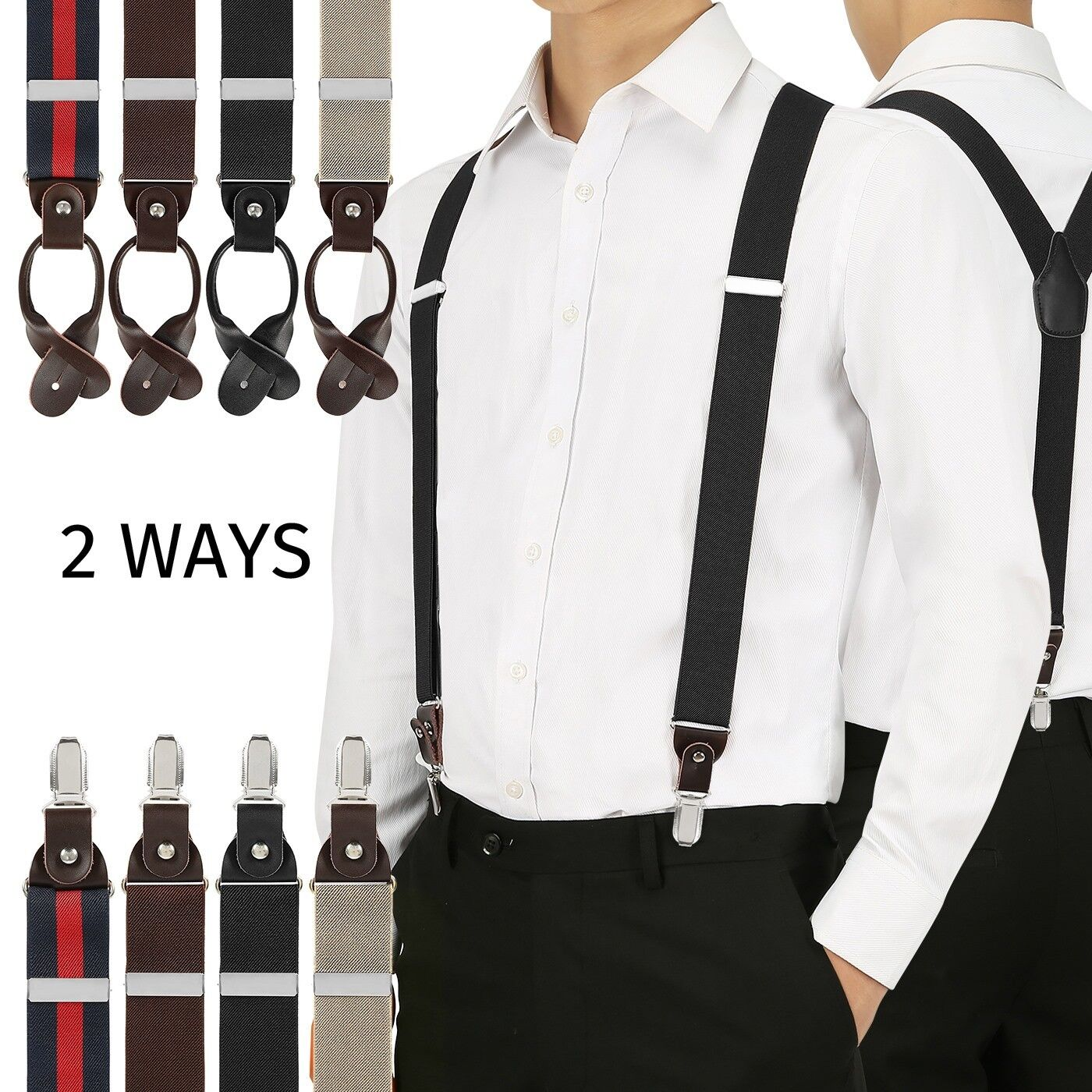 Convertible Suspenders for Men Button End Clip On Adjustable