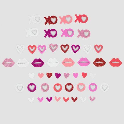 1 bucket (600) foam shapes hearts XO lips glitter Valentine