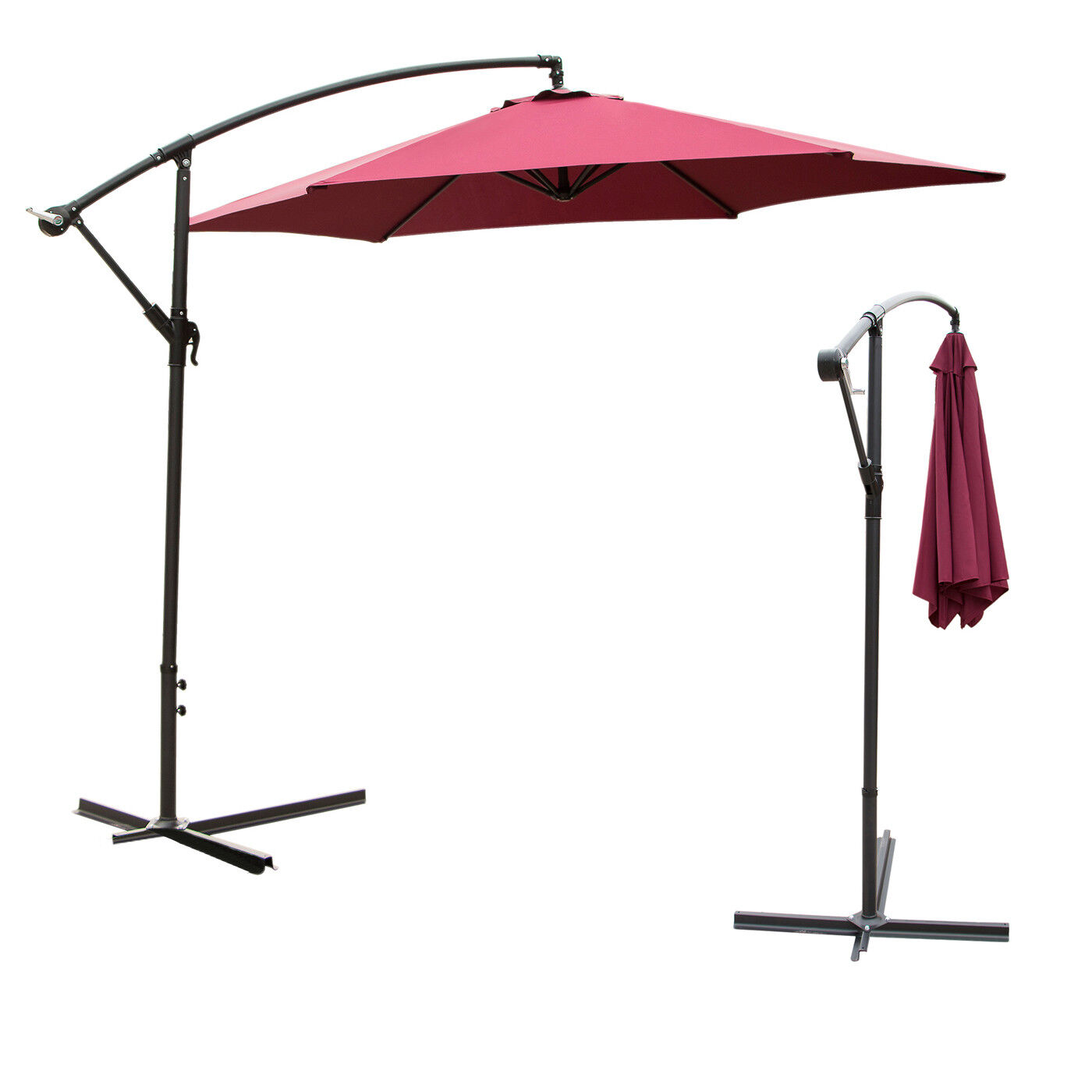10Ft Outdoor Hanging Umbrella Patio Sun Shade Offset Crank C