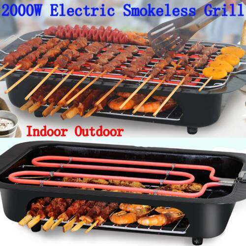 110V Electric Grill Portable Smokeless Non Stick Cooking BBQ