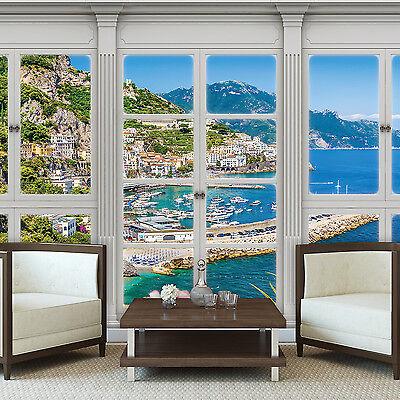 Fenster Poster (POSTER  TAPETEN FOTOTAPETE AUSBLICK FENSTER NATUR OZEAN BLUMEN INSEL 10644 P4)