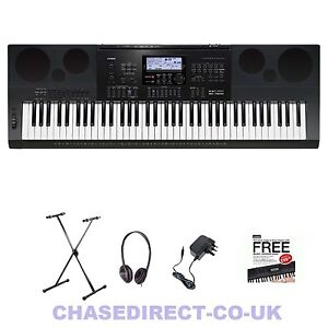 casio wk 7600 digital electric piano keyboard free stand headphones power sup. Black Bedroom Furniture Sets. Home Design Ideas