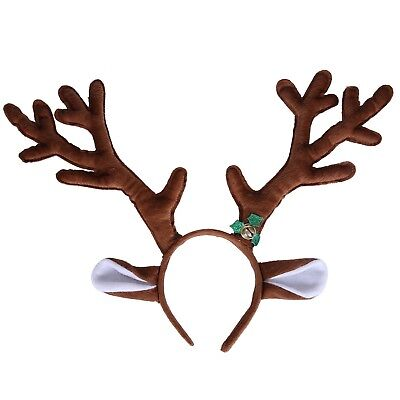 Reindeer Antlers Headband with Ears and Bell Christmas Themed Holiday Wear