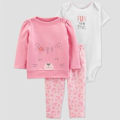 Baby Girl 3 Piece Carters French Terry Pullover Pants Bodysuit Cat Fun to be Me