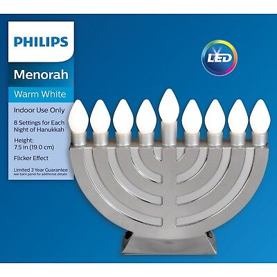 New Philips MENORAH Warm White LED Flicker Effect 8 settings Hanukkah Light ()