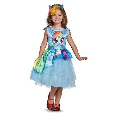 MLP Rainbow Dash Costume S M Dress Headband My Little Pony Girls Child - Mlp Rainbow Dash Dress