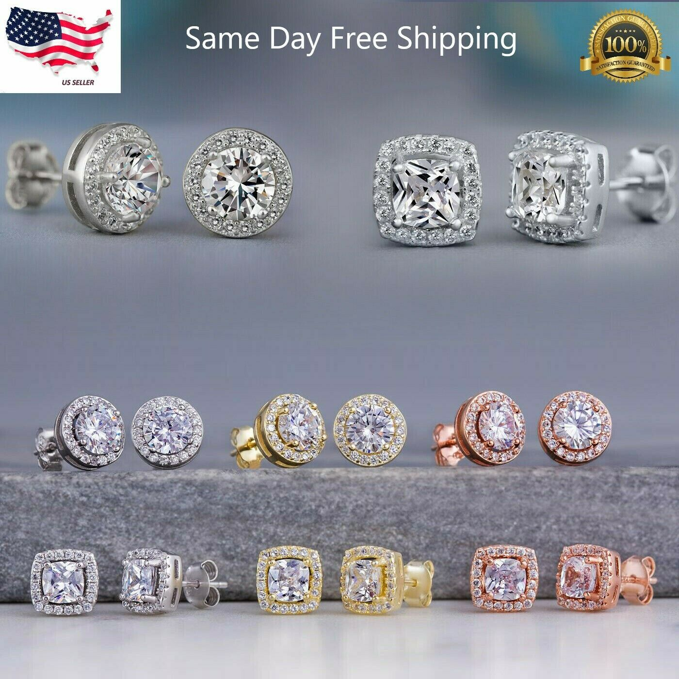 Jewellery - 925 Silver,Gold,Rose Gold Stud Earrings for Women Fashion Jewelry A Pair/set