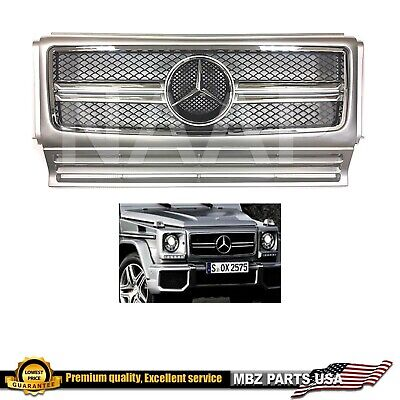 G63 Style grille grill G-Class W463 G-Wagon AMG Silver Chrome Bars G55 Star hood Chrome Argent Grille Grill