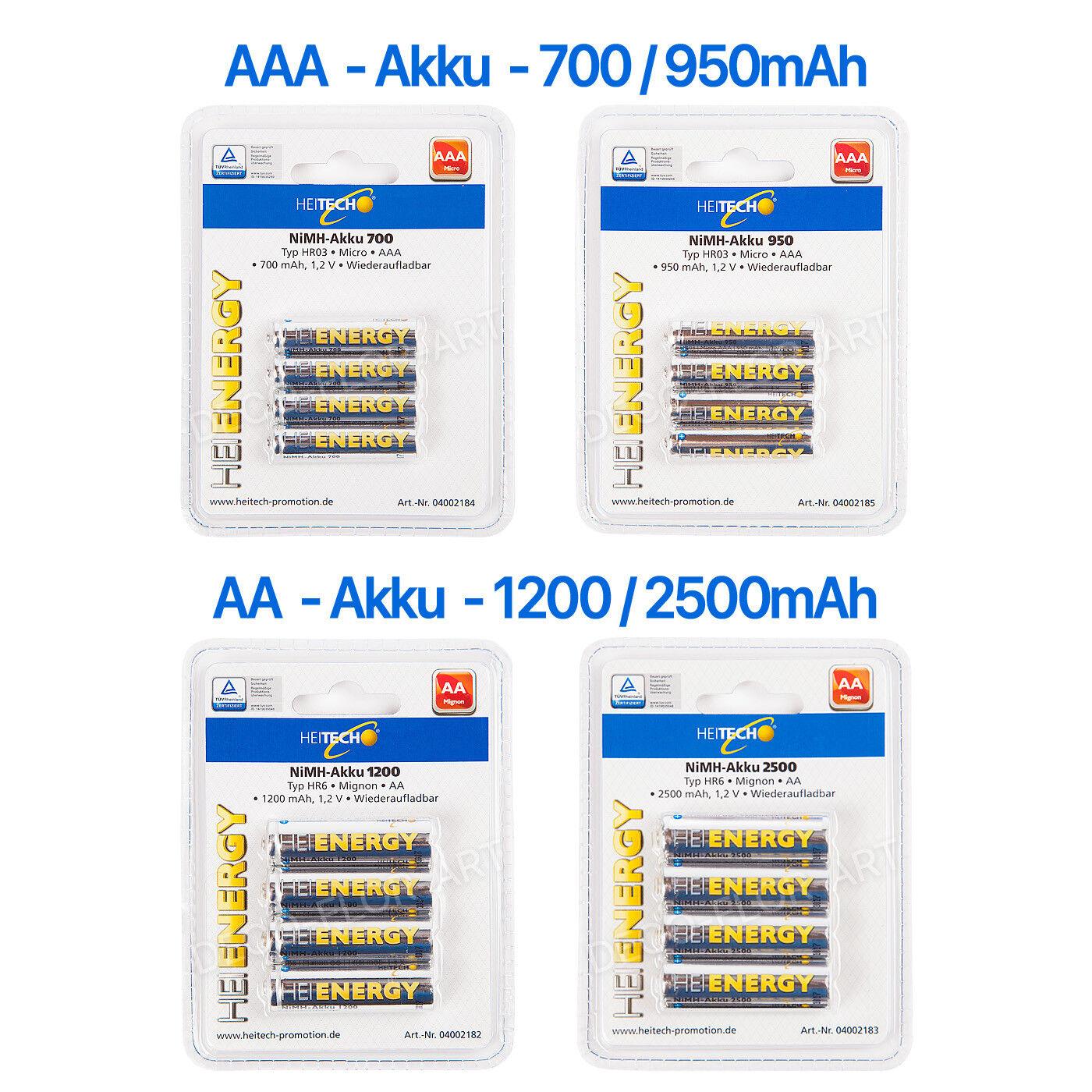 Akku Accu AA AAA HEI ENERGY HEITECH Micro 700mAh 900mAh / Mignon 1200mAh 2500mAh