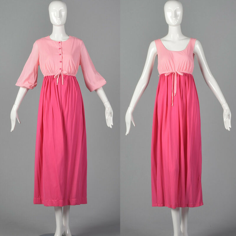 S 1960s Lingerie Set Pink Nightgown Matching Peignoir Sleepwear Lounge Sleep 60s