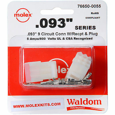 Molex 9-pin Connector Socket Kit 0.093 1 Set Wire Range 22 Awg To 18 Awg