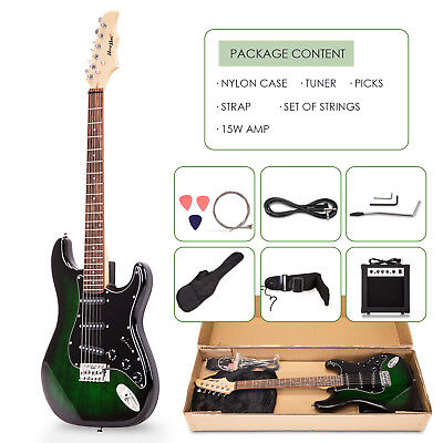 Electric Guitar With Guitar Case,15w AMP,Strap,Tuner & Pick Steel Strings Green