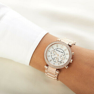 NEW AUTHENTIC MICHAEL KORS MK5491 ROSE GOLD WHITE PARKER WOMAN WATCH RRP 299£