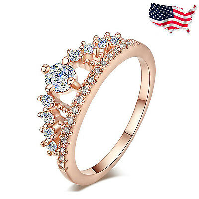 US - Fashion Women Lady Princess Queen Crown Silver Plated Ring  ()