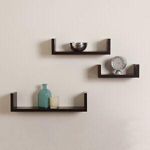 Floating U Shaped Shelves Walnut Brown Finish Set Of 3 Shelf Modern Home Decor Ebay