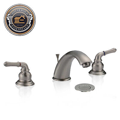 """8"""" Brushed Nickel Widespread Bathroom Sink Faucet with Drain"""