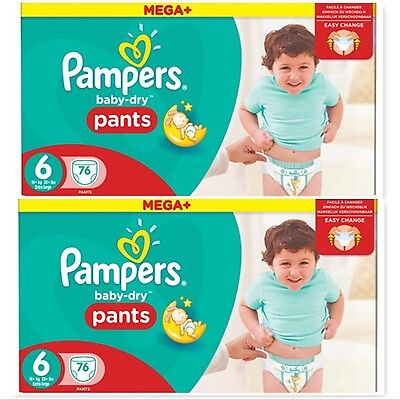 152 Pampers Baby-Dry Nappy Pants Size 6, 2 x 76 Mega+ Pack