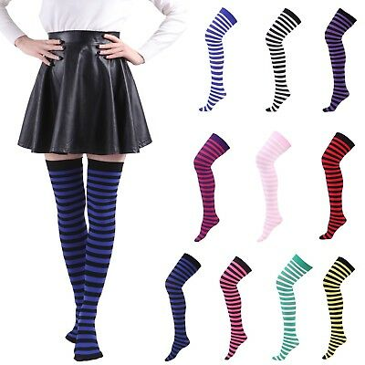 Women's Plus Size Striped Thigh High Socks Sheer Over The Knee Stockings - Striped Stockings Plus Size