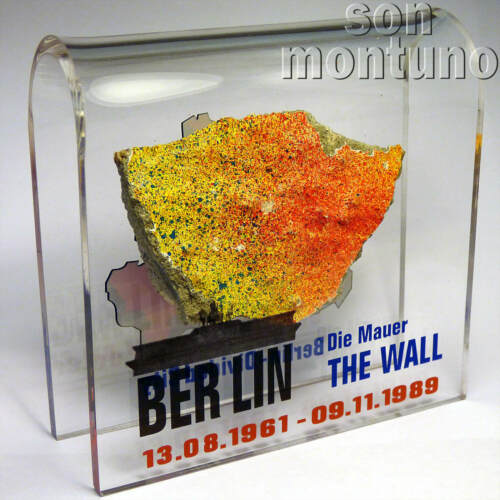 Large BERLIN WALL PIECE Acrylic Display DIVIDED CITY Authentic German Artifact