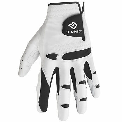 BIONIC STABLE GRIP GOLF GLOVE - Right or Left Handed Golfer / White