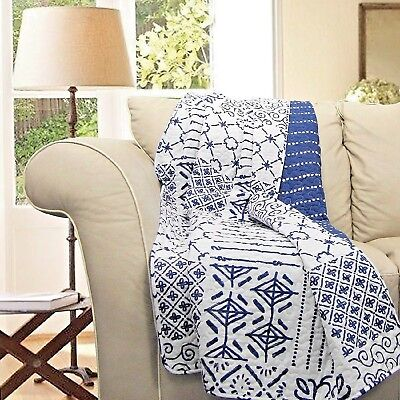 Cotton Blanket Covers - Patchwork Cotton Throw Blanket Navy Blue White Shabby Chic Decor Lap Chair Cover