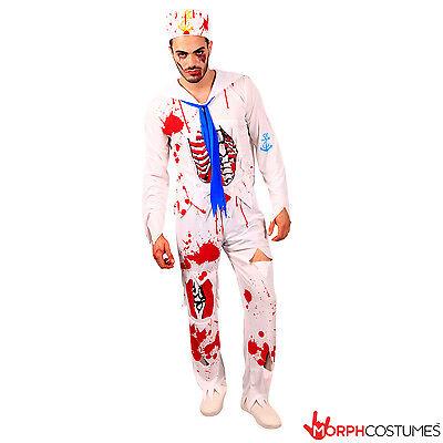 Mens Zombie Sailor Halloween Fancy Dress Costume Un Dead Navy Boy Horror (Dead Sailor Kostüm)