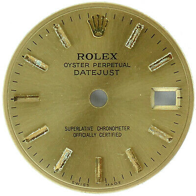ROLEX OYSTER PERPETUAL DATEJUST SUPERLATIVE CHRONOMETER GOLD DIAL
