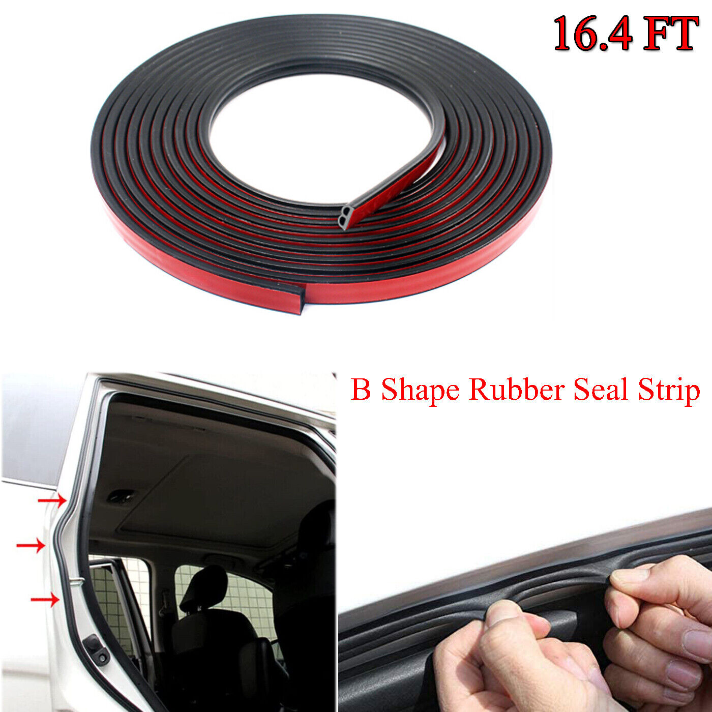 B-Shape Weather Stripping Rubber Seal Soundproofing Hollow For Car Accessories