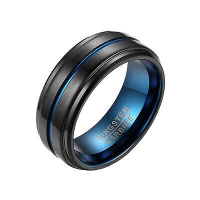8mm Black Tungsten Carbide Blue Grooved Matte Finish Beveled Edge Wedding Ring Edge 8mm Tungsten Carbide Ring