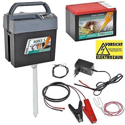 VOLLSET: 9V 12V 230V Weidezaungerät Elektrozaun Batteriegerät + Batterie