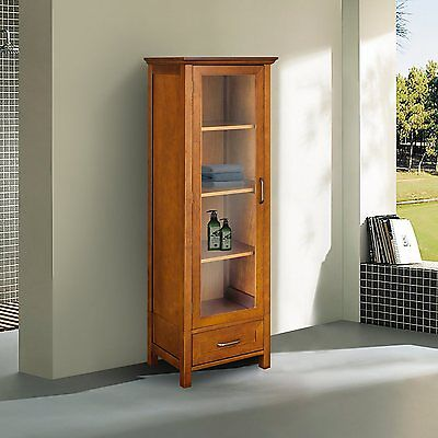 Avery Brown Country Linen Floor Cabinet w Glass Door & Drawer for Storage Brown Floor Storage Cabinet