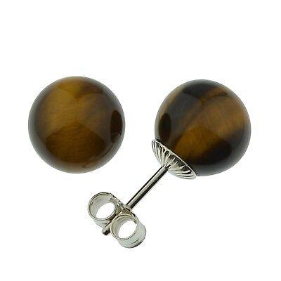 Ohrstecker Tigerauge 925 Silber Kugel Ohrringe A16364