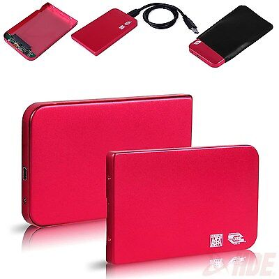 "Aluminium 2.5"" USB 3.0 SATA HDD Hard Drive Disk External Case Box Enclosure Red"