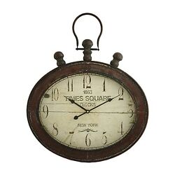 Wall Clock Large Antique Old Pocket Watch Aged Worn Style New Oversized Clocks