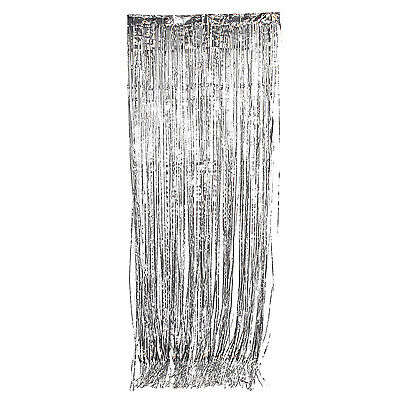 Silver Metallic Fringe Curtain Party Foil Tinsel Room Decor 3' x 8' Wholesale](Wholesale Party)