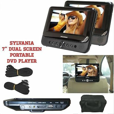"Car 7"" Dual Screen DVD Player Portable USB LCD Headrest Built-in Speakers NEW"