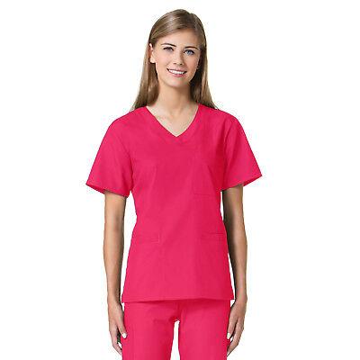 Maevn Women Scrub Top 1626 Core 3 Pocket Curved V-Neck Sizes XXS to -